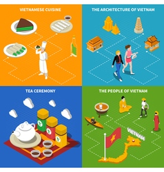 Vietnam touristic 4 isometric icons square vector