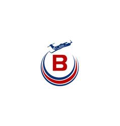 Airplane logo initial b vector