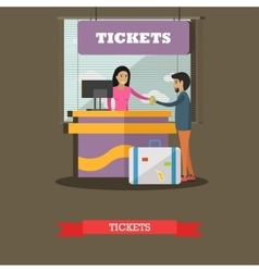 Airport ticket counter concept vector image vector image