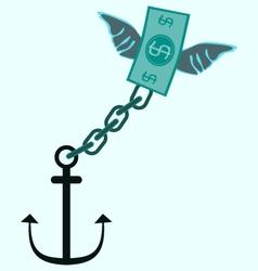 Anchor and fly money debt tax concept vector