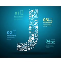 Application icons alphabet letters J design vector image vector image