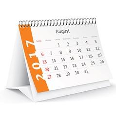 August 2017 desk calendar - vector