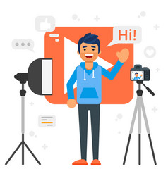 blogger man that records video blog vector image vector image