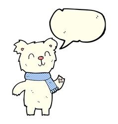 Cartoon cute polar bear cub with speech bubble vector