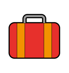 Color red suitcase cartoon vector