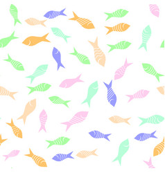 Colored fish silhouettes seamless pattern vector