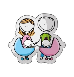Cute little family character icon vector