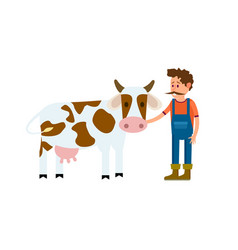 Farmer with cow isolated icon vector