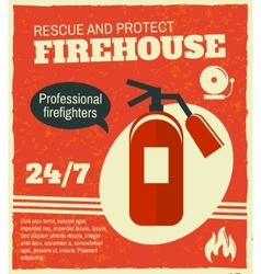 Firefighting retro poster vector