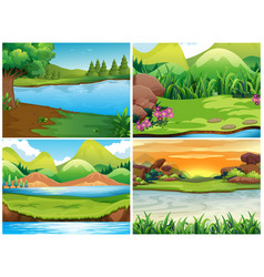 Four nature scenes with mountains vector