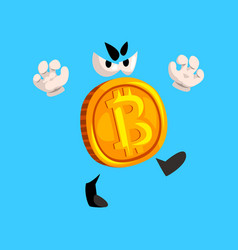 funny grumpy bitcoin character crypto currency vector image