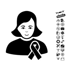 Girl With Sympathy Ribbon Icon With Air Drone vector image vector image