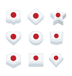 Japan flags icons and button set nine styles vector
