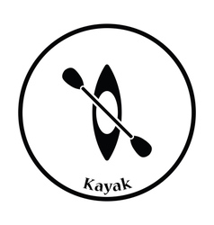 Kayak and paddle icon vector image vector image