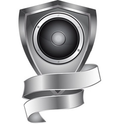 Metal shield with speaker and banner vector