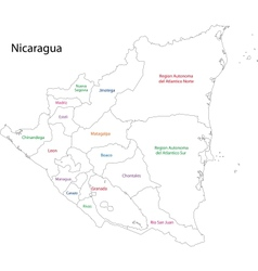 Outline Nicaragua map vector image vector image