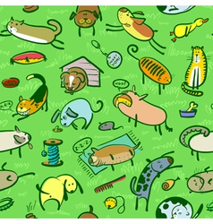 Pattern with cats and dogs vector