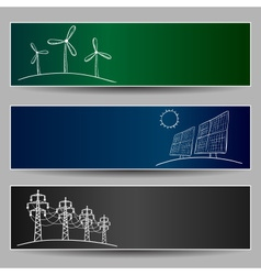 Power station energy banners vector