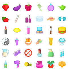 Product icons set cartoon style vector