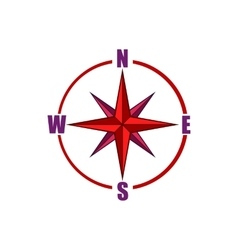 Red compass rose icon cartoon style vector image