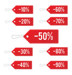 Red leather sale price tags set vector