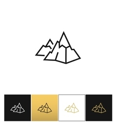 Rock logo or mountain stone linear icon vector image