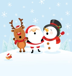 Santa snowman reindeer celebrating christmas vector