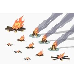 Set of campfires vector
