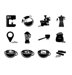 Silhouettes coffee icon set vector