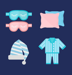 Sleep pajamas icon bed sign vector