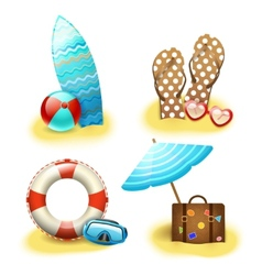 Summer holiday vacation accessories collection vector