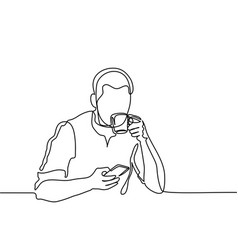 Young man browsing cell phone and drinking coffee vector