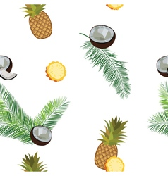 White pineapple seamless pattern pineapple coconut vector