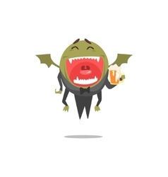 Winged green monster wearing tails laughing and vector