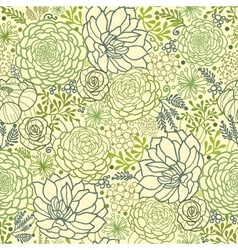 Green succulent plants seamless pattern background vector