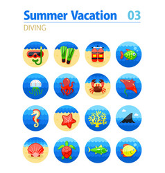 diving icon set summer vacation vector image