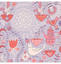 Retro coffee seamless pattern tea background vector image