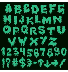 Green font smudges alphabet splashing vector