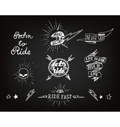 Traditional tattoo biker set vector