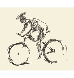 Bicyclist rider man bike hand drawn sketch vector