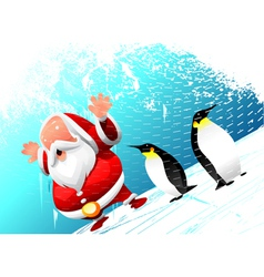 Santa with penguins vector