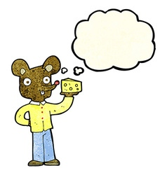 Cartoon mouse holding cheese with thought bubble vector