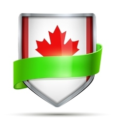 Shield with flag canada and ribbon vector