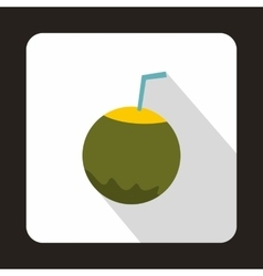 Coconut with straw icon in flat style vector