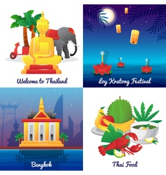 Thailand culture 4 flat icons square vector