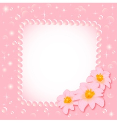 background with the flower and the pearls vector image vector image