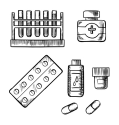 Blood test tubes bottles and pills sketch vector