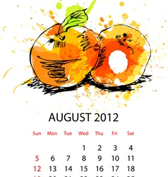 calendar with fruit for 2012 august vector image vector image