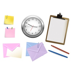 clock and office supplies vector image vector image