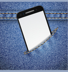Denim background with smartphone vector image vector image
